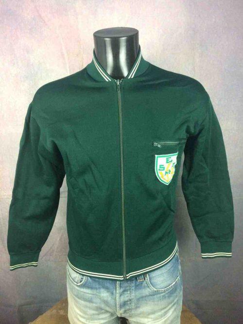 Veste VintageLe Coq Sportif, Véritable Années 70, Taille S, Couleur vert, Patch cousu ESCM, France Sports Homme