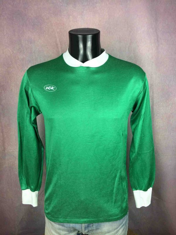 Maillot LE ROC, Made in France, Porté en match N°7, manches longues, Véritable vintage années 80, Football Jersey Trikot Camiseta Glanz Satin