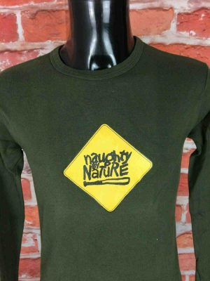 T-Shirt NAUGHTY BY NATURE, édition Baseball bat, Véritable vintage années 90, Manches longues, Concert Rap Hip Hop Old School Hooray OPP