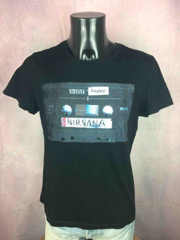 T-Shirt NIRVANA, édition Sheep, Official License, année 2014, visuel K7 Tapes, marque Jules, Concert Punk rock Kurt