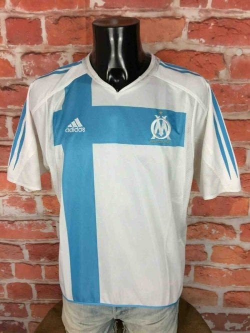 Maillot Marseille, saison 2004 2005, version Home, Sans sponsor, de marque Adidas daté du 09/04, Made in Maroc, Vintage OM Ligue 1 Jersey Football Homme