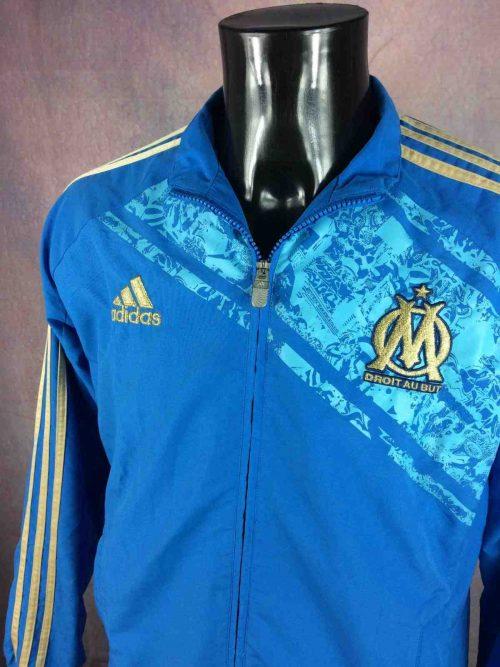 Veste Olympique MARSEILLE, saison 2011 2012, fabriqué par Adidas, doublé intérieur, design superbe avec alliage or et bleu, jacket, football