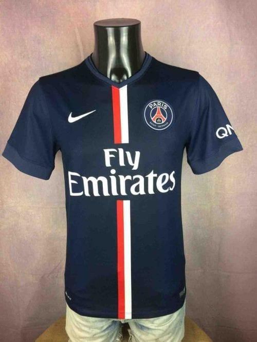 Maillot PSG, Saison 2014 - 2015, modèle Home, de marque Nike, Taille S, Couleur Bleu, Paris Saint Germain France Ligue 1 Football Homme