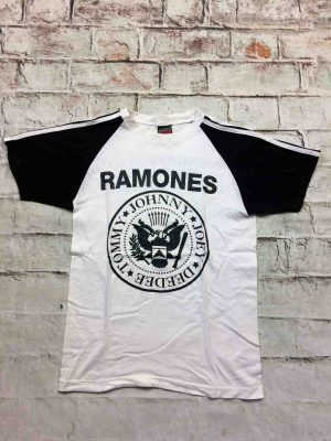 T-Shirt RAMONES Mania, double face, marque Mario, Concert Tommy Johnny Joey Dee Dee Punk Rock NY Logo