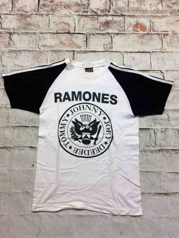 T-Shirt RAMONES Mania, double face, marque Mario, Concert Tommy Johnny Joey Dee Dee Punk Rock NY Logo