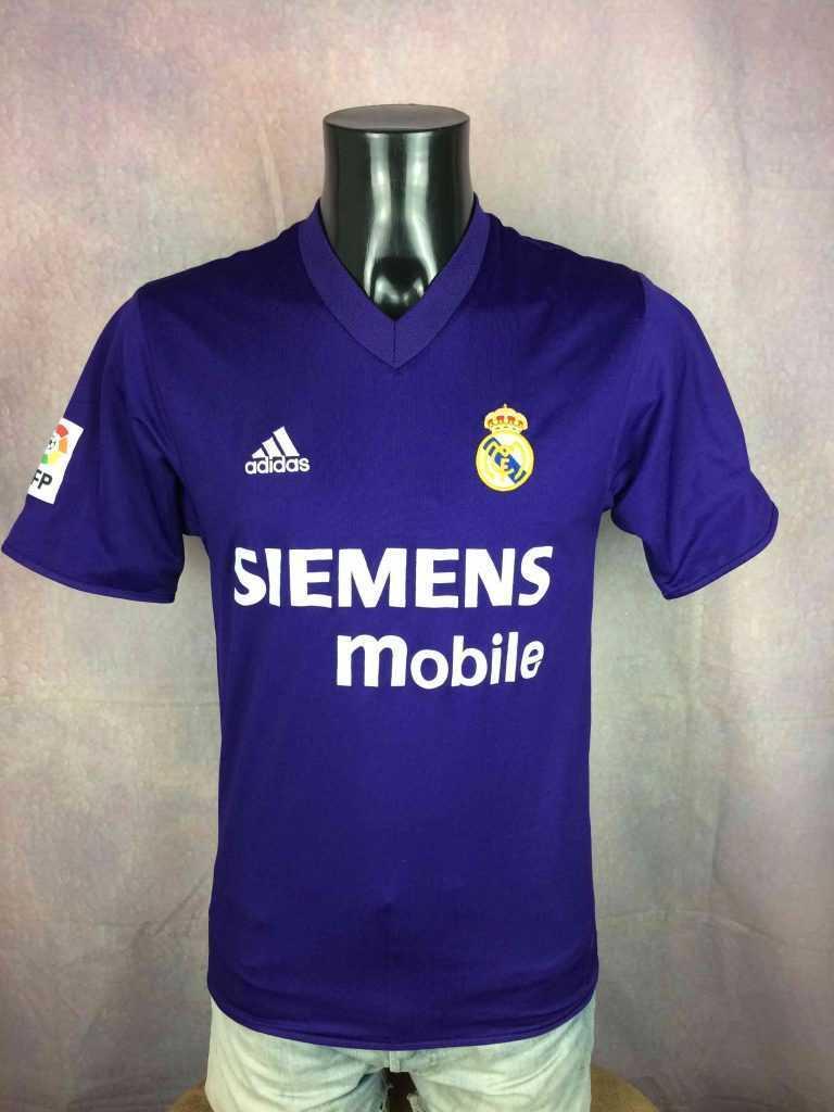 Maillot REAL MADRID, saison 2001 2002 du Centenary, version Third, Reversible couleurs Blanc et Violet, de marque Adidas daté du 09/02, Véritable vintage années 00s, Espagne Liga, Jersey Camiseta Trikot Football