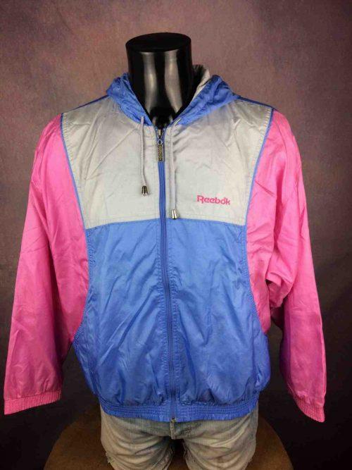 Veste Windbreaker Vintage Reebok, véritable vintage années 90, Taille XL, Couleur rose bleu blanc, Made in Macao, Nylon, Doublé, Sport Streetwear Coupe-Vent Unisexe