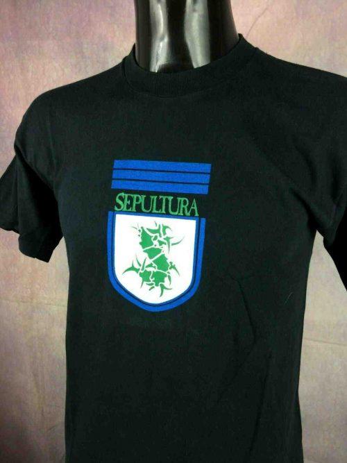 T-ShirtSEPULTURA, éditionFootball Club #10, double face avec visuel différent au dos, Véritable vintage années 90, Soccer Brazil Thrash Futbol Football