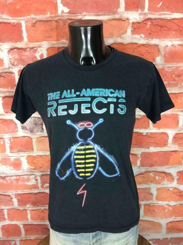 T-Shirt THE ALL-AMERICAN REJECTS, édition Shaking Off the Rust Tour 2012 Europe, double face avec liste des dates au dos, marqueGildan, Abeille Concert