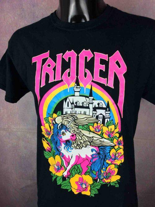 T-Shirt TRIGGER, édition Unicorn Shirt 6 coloured Print, Concert Licorne Neon Fluo Metal Hardcore Grindcore Skate Tatoo Band
