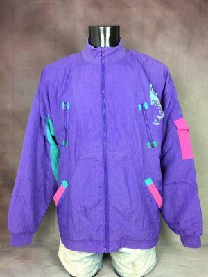 Veste Vintage ADIDAS, Véritable Année 90,Made in Taiwan, Trefoil, Couleur Violet Vert Rose, Intérieur doublé, Taille XL, Couleurs Violet, Vert, Rose, Sport Jogging Unisexe