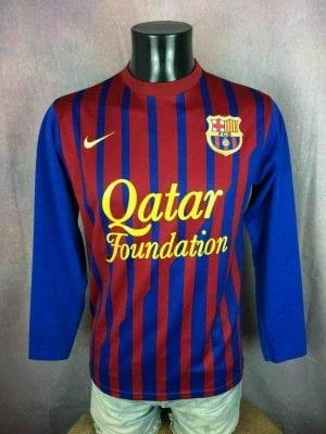 Maillot BARCELONE FC, saison 2011 2011, version Home, Floqué N°10 Messi, Manches longues, Sans marque NO NIKE, Espagne Liga AFA Barca FCB Replica, Jersey Camiseta Trikot Football