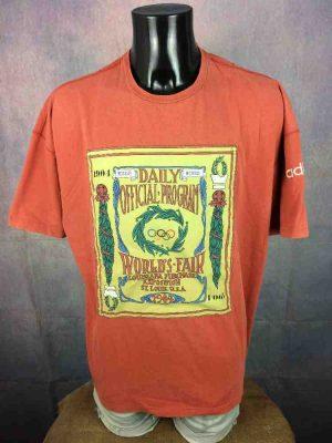 ADIDAS T-Shirt, édition Olympic Centennial Collection St Louis 1904 Games JO, Véritable Vintage Années 90s, Taille XL, Couleur Orange, Jeux Olympiques Homme