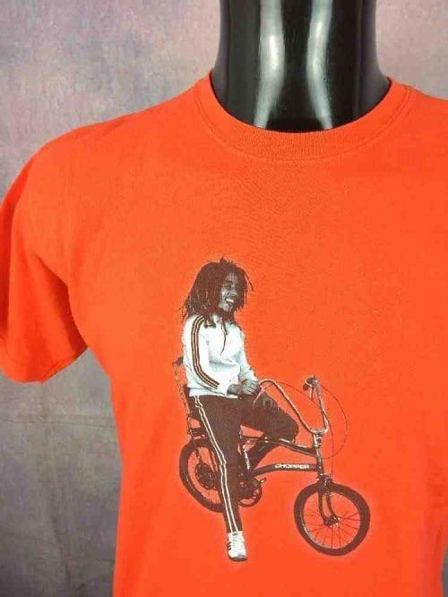 T-Shirt BOB MARLEY, Véritable vintage 90s, MarqueGildan , Tracksuit Bike Chopper Orange Wailers Reggae
