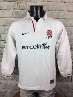 Maillot ANGLETERRE, version Home, véritable vintage 90s, saison 1999 2001, de marque Nike Team,England, Nations XV Rugby JerseyMaglia