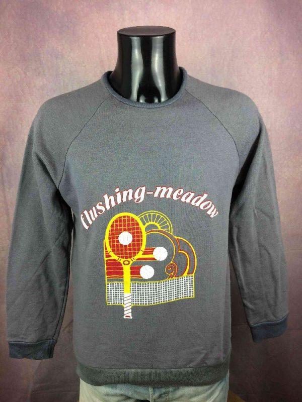 FLUSHING MEADOW SweatShirt Vintage 80s Tennis Gabba.. 2 - FLUSHING MEADOW SweatShirt Vintage 80s Tennis