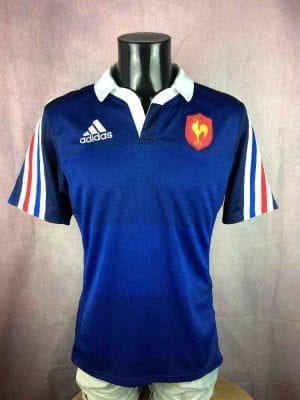 Maillot FRANCE, saison 2014 2015, Version Home, Marque Adidas daté du 03/14, Technologie Climalite, Team FFR Rugby Tournoi Cup Nation Rugby Jersey
