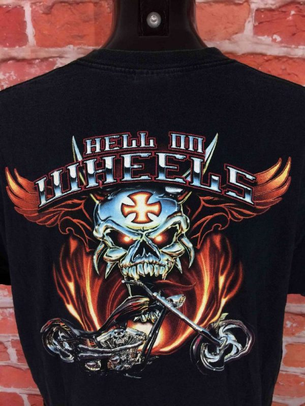 HELL ON WHEELS T Shirt Vintage 00s USA Biker Gabba Vintage 1 - HELL ON WHEELS T-Shirt Vintage 00s USA Biker