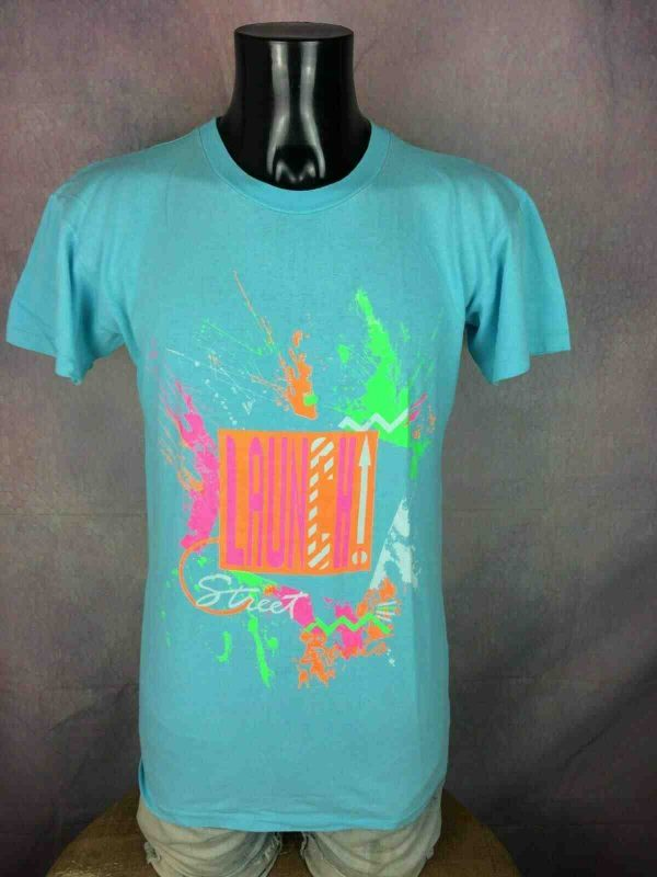 T-Shirt LAUNCH, Edition Street Beats, Véritable vintage Années 80, Made in Italy , Fluo Neon Old School