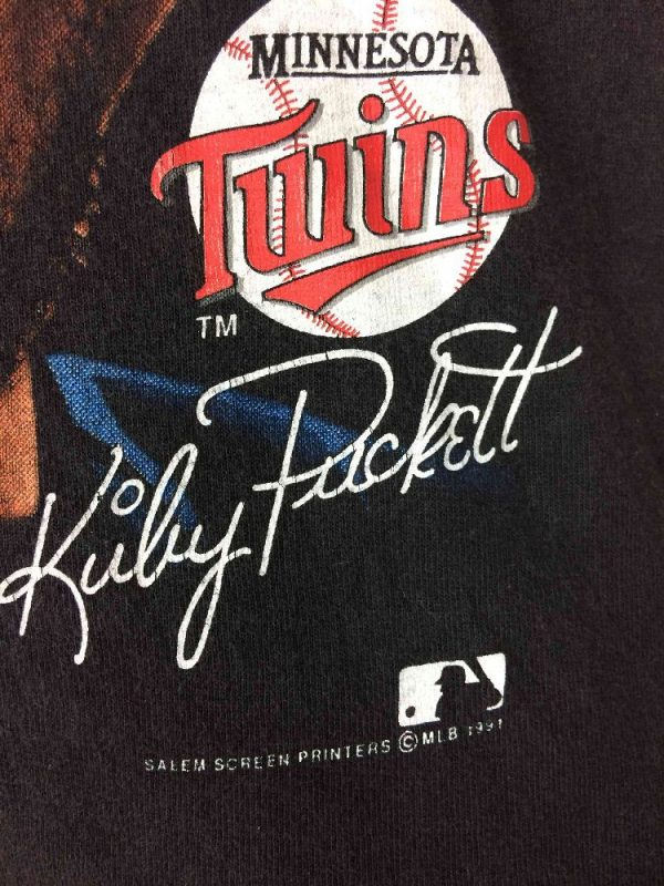 MINNESOTA TWINS T Shirt Kirby Puckett 1991 Gabba Vintage 4 - MINNESOTA TWINS T-Shirt Kirby Puckett 1991