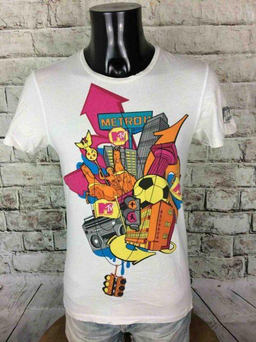 MTV TV T-Shirt, Marque Zara, Licence Officielle, Série Limitée 2009, Taille S, Couleur Blanc, Metro Music Television Statue Bauhaus Ghetto Blaster USAHomme