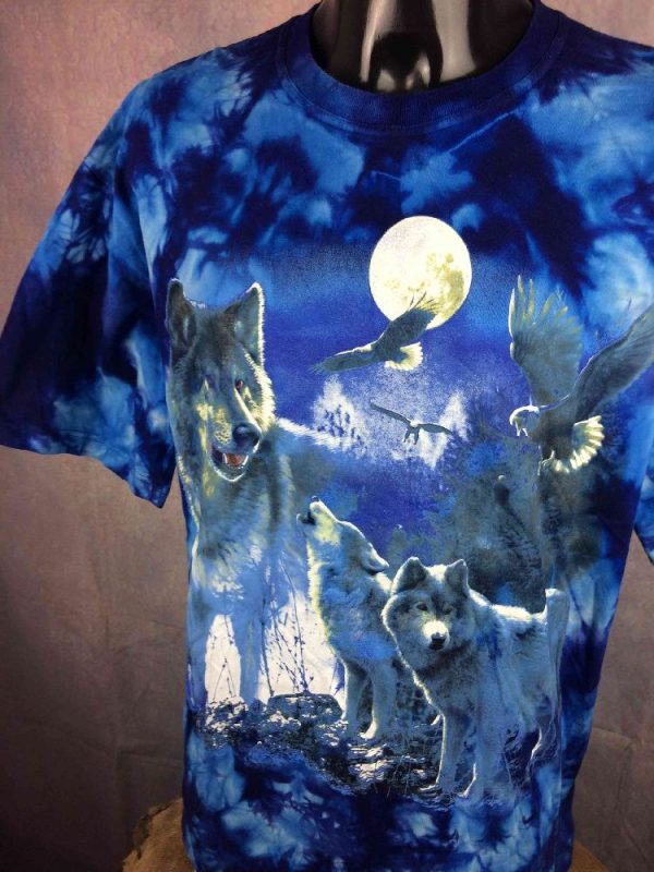 PLANET EARTH T Shirt Vintage 00s Wolf Tie Dye Gabba.. 2 - PLANET EARTH T-Shirt Vintage 00s Wolf Tie Dye