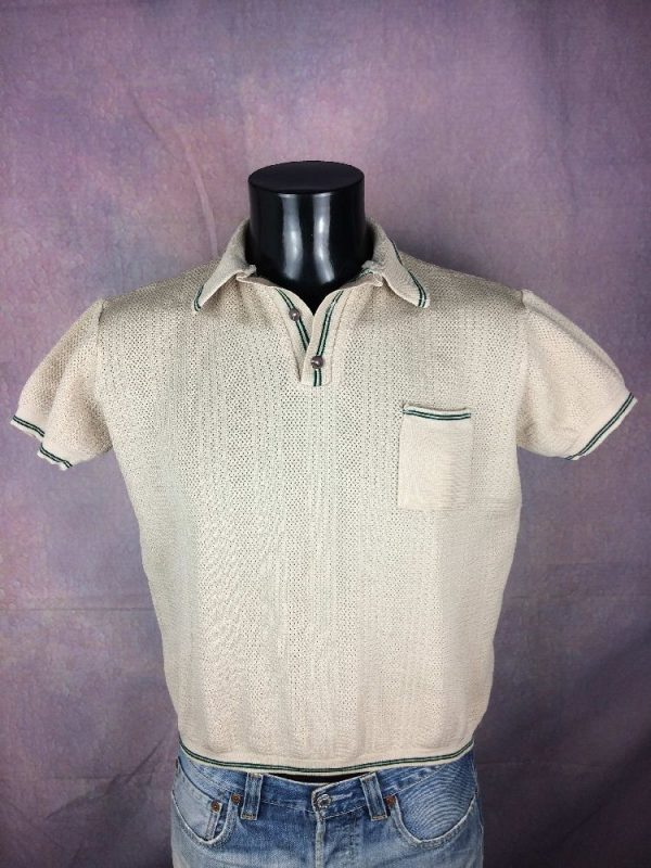 POLO Vintage 70s Grosse Maille Taille Courte Gabba Vintage 2 - POLO Vintage 70s Grosse Maille Taille Courte