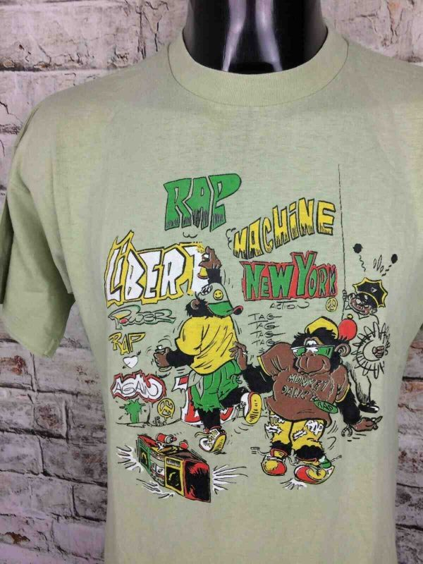 T-Shirt RAP MACHINE, véritable vintage années 80s, New York Ghetto Blaster Monkey Dance Tag Liberté Power Police
