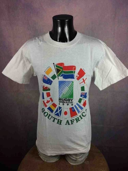 T-Shirt Rugby World Cup 1995, Véritable Vintage Années 90s, Official IRB, Taille M, Couleur Blanc, France South Africa New Zealand Mandela Football Homme