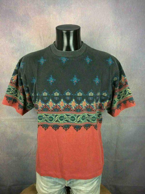 T-Shirt Sun Valley, Véritable Vintage Années 90s, Made in EEC, Taille M, Couleur Multicolore, Surf Plage Design Psyche Rave RockSports Homme