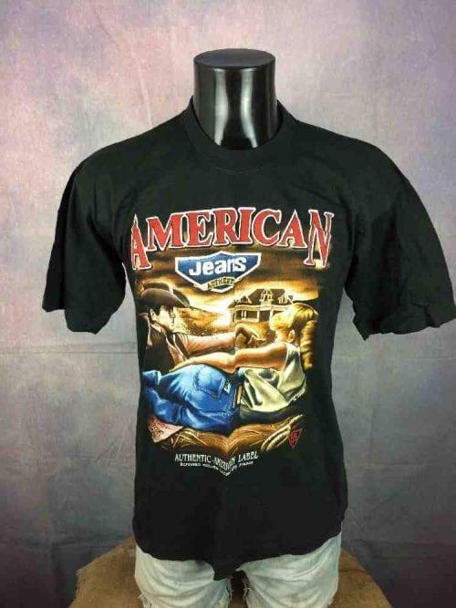 T-Shirt AMERICAN Jeans Authentic Label LPS France, Véritable vintage années 90s, Visuel James Dean 55, Taille M, Couleur Noir, Publicité USA Homme