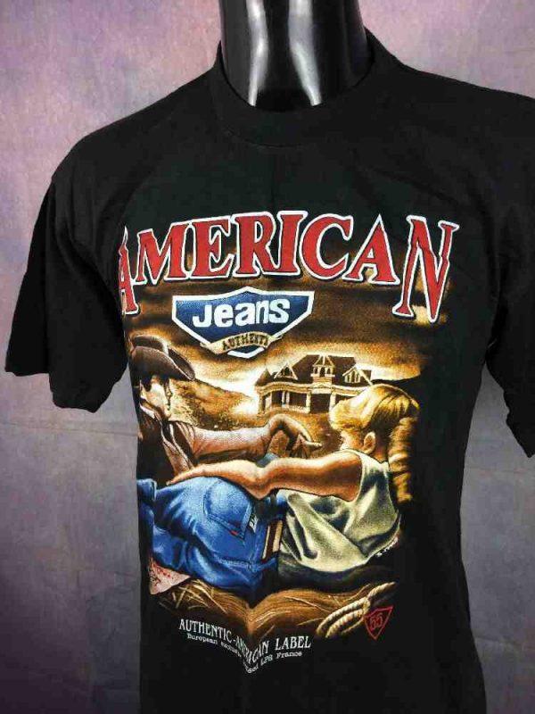 american jeans t shirt france vintage 90s 3 - AMERICAN Jeans T-Shirt Vintage Années 90s