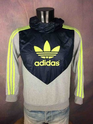 ADIDAS SweatShirt Hood Capuche Big Trefoil Fluo Neon Training Warm Up 3 Stripes Unisex Sweater