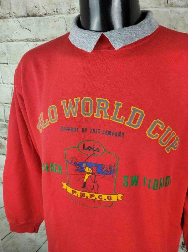 LOIS SweatShirt Vintage 80s Polo World Cup Gabba Vintage 3 - LOIS SweatShirt Vintage 80s Polo World Cup