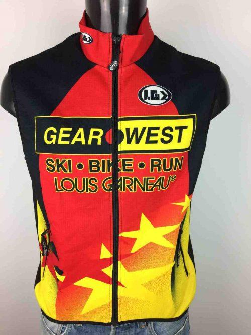 Gilet Veste Sans Manches LOUIS GARNEAU, Série Gear West, Inscriptions Bike Run Ski, Véritable Vintage 00s, Made in Canada, Racing Cycle Vélo Cyclisme Homme