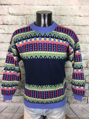 Pull MARESE, production Junior Creation France, vrai vintage années 80s, 30% Laine Unisex Rare Pullover