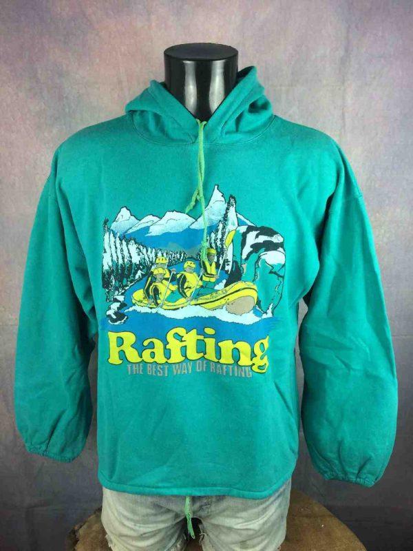 SweatRAFTING, Véritable Vintage Années 80,Made in France, Capuche, Unisex Sweater SweatShirt