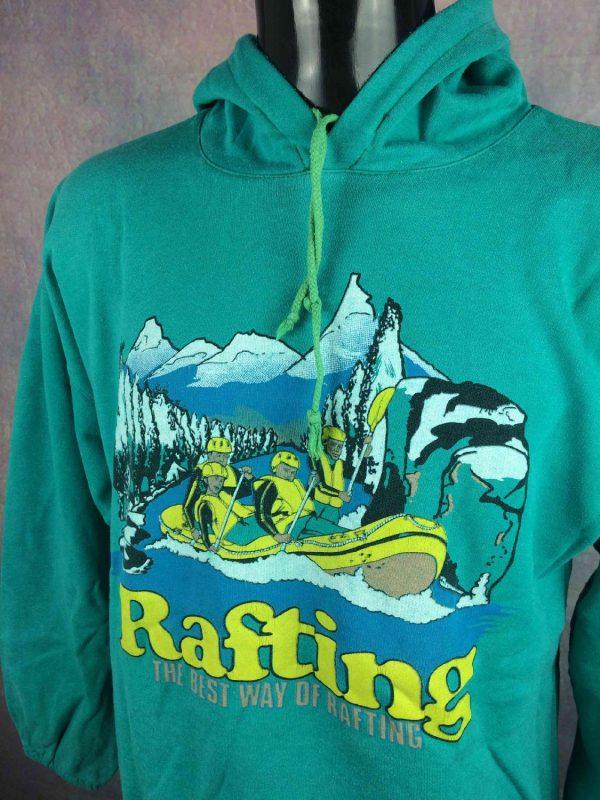 RAFTING Sweatshirt Vintage 80s Made in France Gabba.. 3 - RAFTING Sweat Vintage 80s Made in France Vert