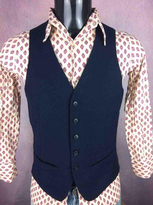 VINTAGE 70s Gilet Doublé Costume Veston - Gabba Vintage (2)