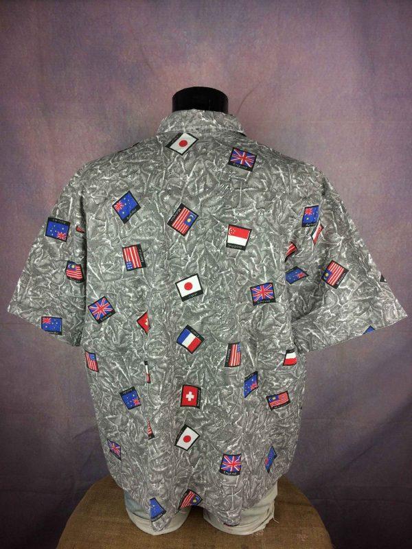 VINTAGE 80s Chemise Oversize Drapeau Flag Gabba Vintage 1 - VINTAGE 80s Chemise Oversize Drapeau Flag