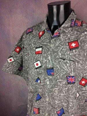 VINTAGE 80s Chemise Oversize Drapeau Flag - Gabba Vintage
