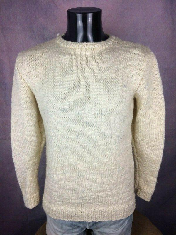 VINTAGE 80s Pullover Tricote Main Chaud 1kg Gabba Vintage 3 - VINTAGE 80s Pullover Tricoté Main Chaud +1kg