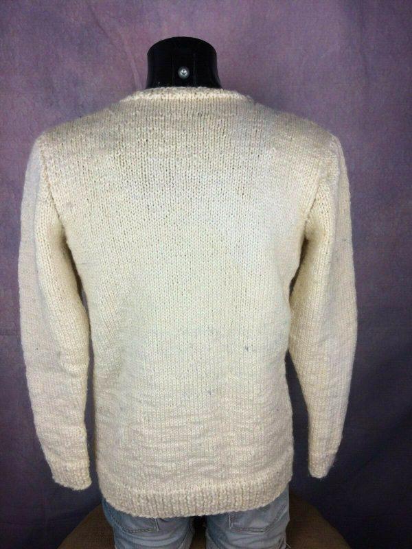 VINTAGE 80s Pullover Tricote Main Chaud 1kg Gabba Vintage 4 - VINTAGE 80s Pullover Tricoté Main Chaud +1kg