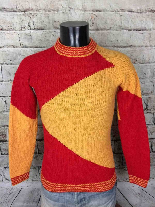VINTAGE 80s Pullover Tricoté Main Unisex Pull - Gabba...