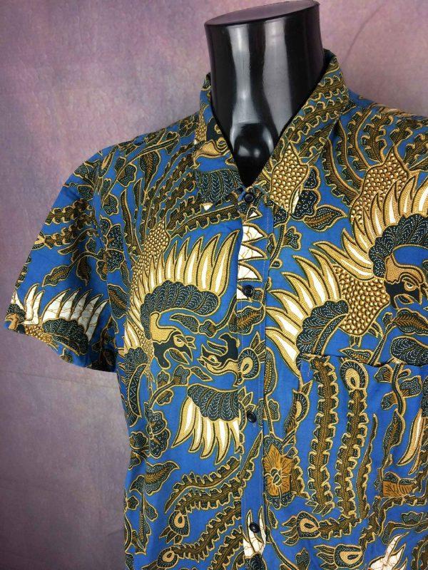 VINTAGE 90s Chemise Tribal Ethnic Design Art - Gabba Vintage