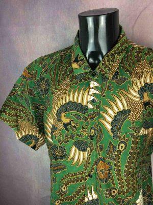 VINTAGE 90s Chemise Tribal Ethnic Design Asia - Gabba...