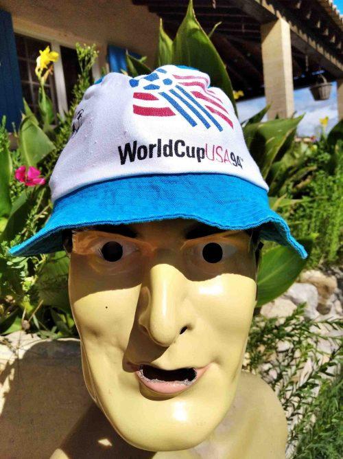 Bob WORLD CUP USA 1994, véritable vintage années 90s, Official Licensed Product Football FIFA Sun Hat Floppy Cap Gorra