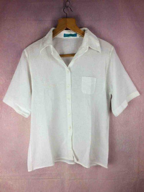 Cacharel Chemise Chemisier, Modèle Femme, Véritable Vintage années 80s, Made in France, Taille S, Couleurs Blanc