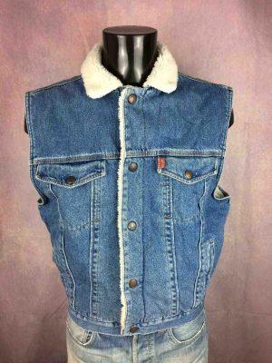 Gilet COMPLICES, Vintage Véritable années 90s, Série Jeans and Jackets Next Generation, Matière Denim et Fausse Laine, Biker Rock Garage Homme Unisex Vest