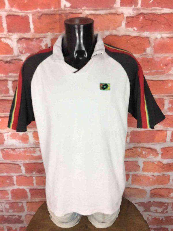 Polo Maillot LOTTO, Série Tennis Italiano, Véritable Vintage années 90s, Couleurs Jamaique Rasta Rare Court